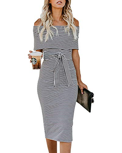 (Nulibenna Womens Off The Shoulder Bodycon Dress Striped Fold Cocktail Dresses with Belt Dark Gray)