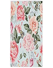 Sunnybee Hand Towels Peony Flower Butterfly Face Towels Absorbent Soft Bath Towel Kitchen Towels Multipurpose Towel for Bathroom Kitchen Gym Hotel Yoga Spa 15x30 Inch