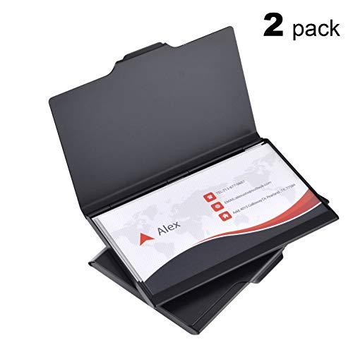 MaxGear Light Aluminum Business Card Holder Case for Men and Women Black 2 Pack