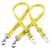 DCbark Bungee Dog Car Seat Belt, 2 Packs Dog Seat Belt Leash Adjustable Dog Cat Safety Leads Harness, Vehicle Nylon Car Seatbelt Harness for Pets (Yellow)