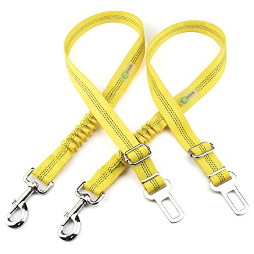 DCbark Bungee Dog Car Seat Belt, 2 Packs Dog Seat Belt Leash Adjustable Dog Cat Safety Leads Harness, Vehicle Nylon Car Seatbelt Harness for Pets (Yellow)