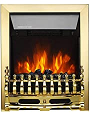 Finether 2000W Freestanding Fireplace Electric Fires/Stove Heater with Detachable Grate/Real Coal and Realistic Flame Effect