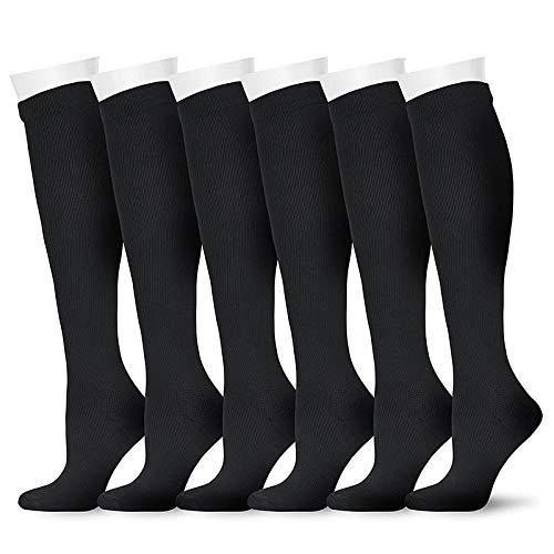 Compression Socks for Women and Men for Running, Athletic Sports, Flight Travel, Nurses, Maternity Pregnancy, Shin Splints, Edema, Varicose Veins (Black 2, S/M)