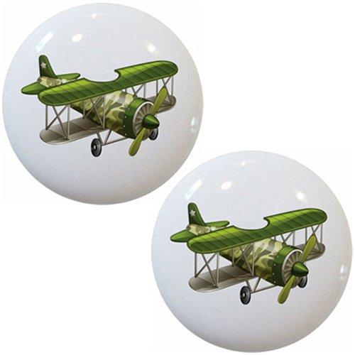 Set of 2 Green Airplane Biplane Ceramic Cabinet Dresser Drawer Knobs
