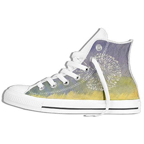 Classic High Top Sneakers Canvas Shoes Anti-Skid Dandelion Paint Casual Walking For Men Women White S9Fp8