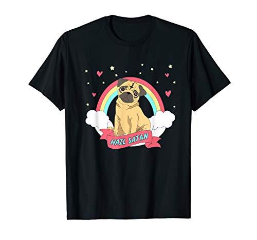 Hail Satan PUG Halloween shirt. Satanic dog tee. -