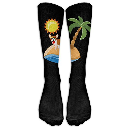 Corgi Love Holiday Enjoy Sunshine Beach Classics Stockings, Great Quality Knee High Tube Socks, Sports Long Socks For Men Women (1980s Costumes Ireland)