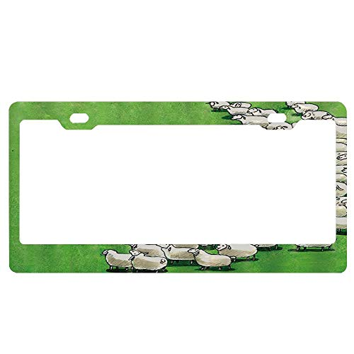 ASUIframeNJK Wolf Want to Eat Sheep on Grassland Vintage License Plate, Life Graphic, High Gloss Aluminum Novelty Plate, 12X6inches.