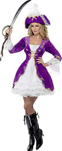 Black Beauty Pirate Adult Womens Costumes (Smiffy's Women's Purple Pirate Beauty Costume, Dress and Hat, Pirate, Serious Fun, Size 14-16, 22643)