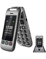 artfone 2G/3G utan kontrakt senior flip-mobiltelefon, seniortelefon med laddningsstation för äldre, upplåst mobiltelefon