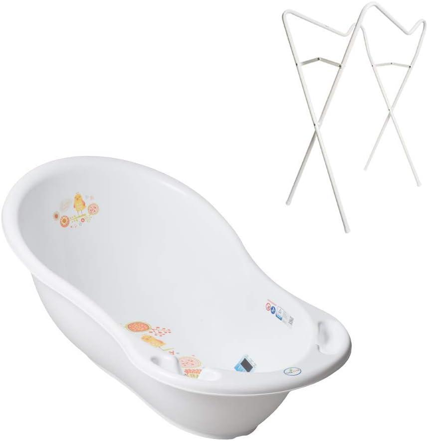 Tega Baby ® - Bañera ergonómica para bebés de 86 cm, juego de 3 piezas con estructura plegable + tapón para drenaje de agua y termómetro integrado para bañera de bebé de 0 - 12 meses blanco Folk - Col