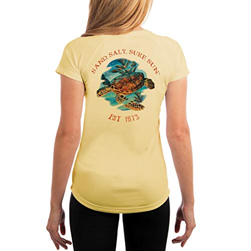 (SAND.SALT.SURF.SUN. Sea Turtle Women's UPF 50+ Short Sleeve T-Shirt Medium Pale Yellow)