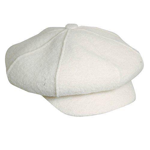 Scala Boiled Wool Newsboy Cap Hat (Ivory)