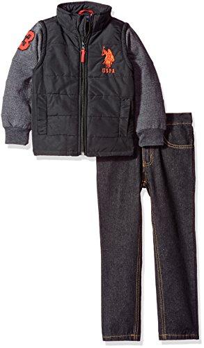 U.S. Polo Assn. Little Boys' Toddler Puffer Vest with Fleece Sleeves and Denim, Black, ()