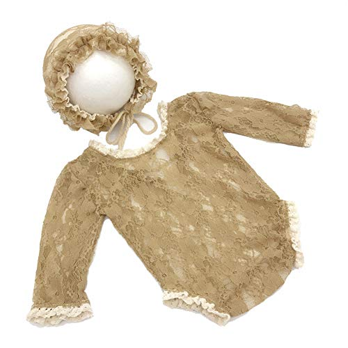 Baby Romper,Newborn Baby Lace Photography Props Hat Rompers Photo Shoot Costume Clothes Camel ()