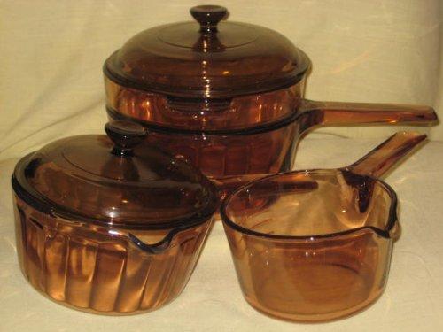 6 PIECE SET - Vintage Corning Visions Vision Visionware Amber Sauce Pan Set - (RARE) .7 Liter w/ Pour Spout , 1 Liter w/ Pour Spout & Lid, 1 1/2 Liter w/ Double Boiler Insert & Lid