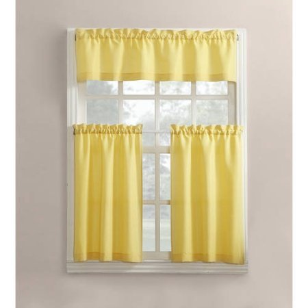 Mainstays Solid 3-Piece Tier and Valance Kitchen Curtain Set (54x36, Yellow) (Kitchen Valance Yellow compare prices)