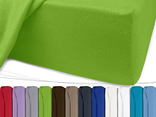 Jersey Spannbetttuch in unseren besten Farben aus 100% Baumwolle - in 5 Größen erhältlich, 90-100 x 200 cm, apfelgrün