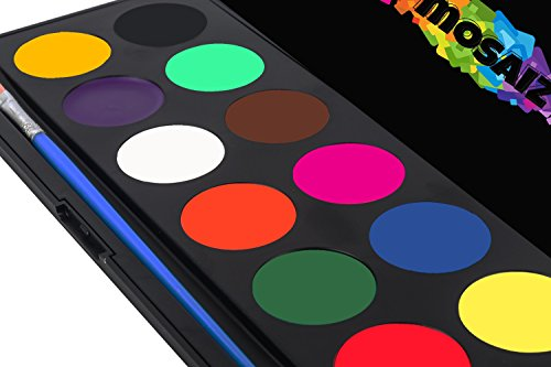 Face Paint Kit Non-Grease Face Paints Body Paint 12 Colors Palette Kids Safe Facepaint Halloween Makeup Water-based Facepaints Girls Spa Makeover Costume Tactical Birthday Face painting Supplies