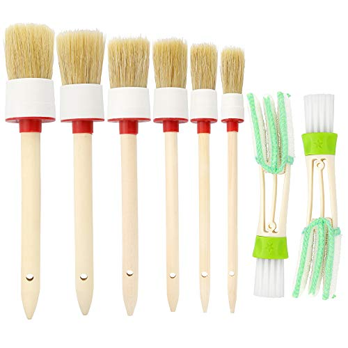 JANYUN Natural Boar Hair Detail Brush (Set of 6), Auto Detailing Brush Set Cleaning Weels, Interior, Exterior, Leather 2 pcs Automotive Air Conditioner Cleaner Brush