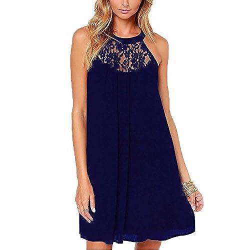 Dreagal Girls Chiffon Beach Dress Knee Length Wedding Dresses Navy Blue Small