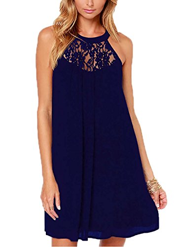 DREAGAL Girls Chiffon Beach Dress Knee Length Wedding Dresses Navy Blue Medium