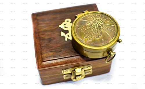 Sailor's Art Not All Those Who Wander Are Lost Quote Antique Brass 2-inch Compass with Wooden Box