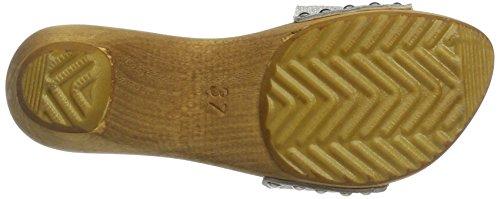Sanita Botilde Sandalo Metallico In Pelle Scamosciata Beige Zoccolo