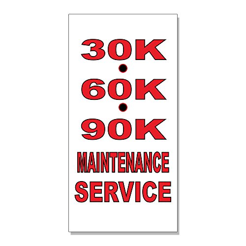 30K 60K 90K Maintenance Service Auto Body Shop DECAL STICKER Retail Store Sign - 4.5 x 12 inches from Fastasticdeals