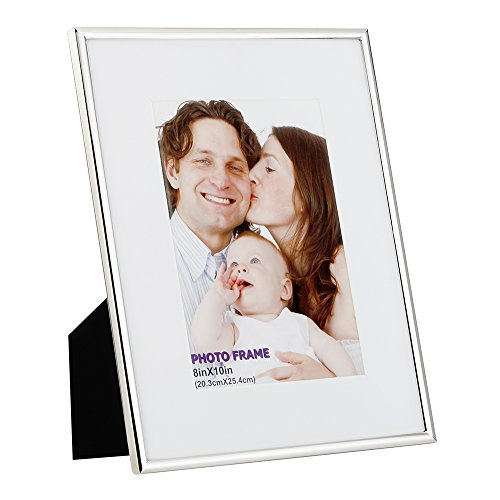 (RPJC 8x10 Picture Frames Made of Metal (Steel) and High Definition Glass Display Pictures 5x7 with Mat or 8x10 Without Mat for Wall mounting Photo Frame Silvery)