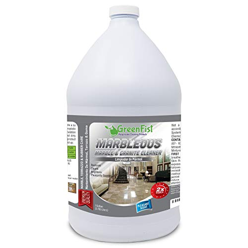 GreenFist Marbleous Marble Cleaner and Other Stone Surfaces Brightener & Restorer [Tile,Countertop,Porcelain,Lime-Stone,Ceramic,Granite,Brick,Vinyl] (1 Gallon) ()