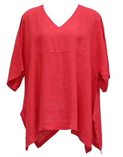 """Match Point Women's Linen Kimono Oversized Tunic Red S - 2X (2X (Bust 62""""), Red)"""