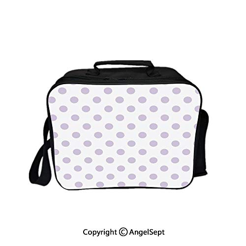 - Compartment Lunch Bag for Men, Women,Old Fashioned Retro Design with Polka Dots Classical Spotted Tile Pattern Lavander White 8.3inch,Lunch Cooler Bag with Shoulder Strap