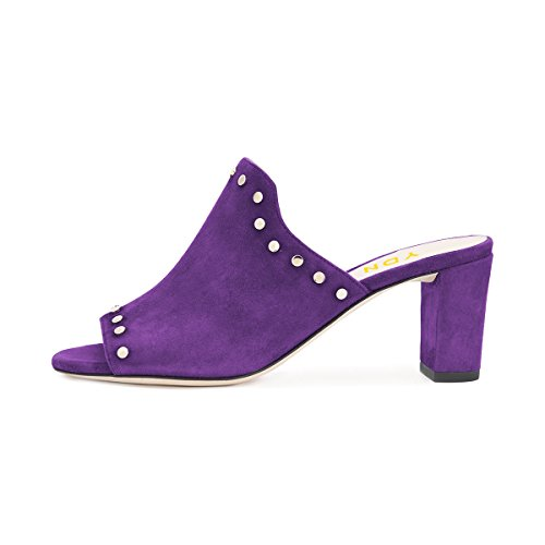 Ydn Donna Casual Mid Chunky Heel Mule Peep Toe Slip On Pumps Scarpe Con Zeppa Tempestate Viola