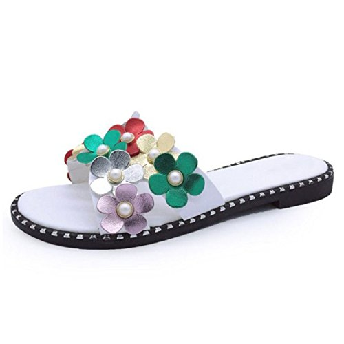 Kingwhisht Elegant Women Flats Sandals Beading Flower Open Toe Rivet Flats Slippers Holiday Club Shoe Footwear (Leather Brookhaven)