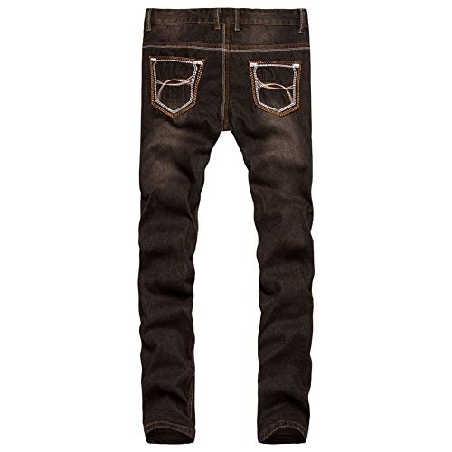 Estilo Da Jeans Fit Moto Pantaloni Denim Braun Vintage In Stretch Jeggings Slim Uomo Especial 0X5qw6