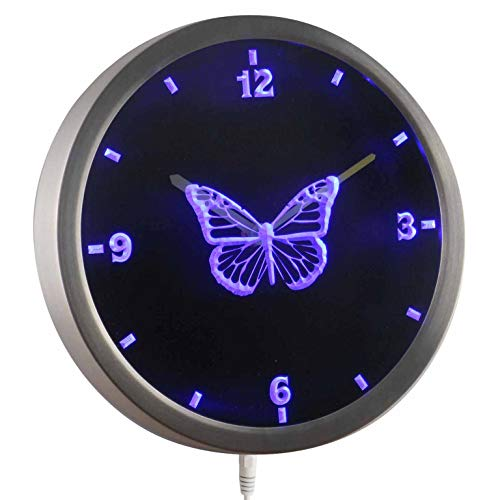 ADVPRO nc0918-b Butterfly Girl Kids Night Light Neon Sign LED Wall Clock -