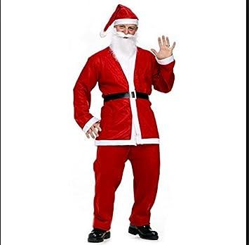 Costume da Babbo Natale cintura pantaloni dimensioni da adulto con giacca barba e cappello