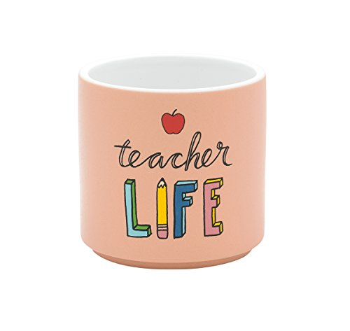 21760 Teacher Life Peach Colored 3 x 3 Inch Ceramic Matte Indoor Planter ()