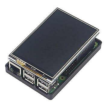 SODIAL Para Raspberry Pi 3 Modelo B Plus Tft de 3.5 Pulgadas Pantalla de Prensa Pantalla LCD con Nuevo Abs Contendor de Plastico para Raspberry Pi 3(Estuche Negro)