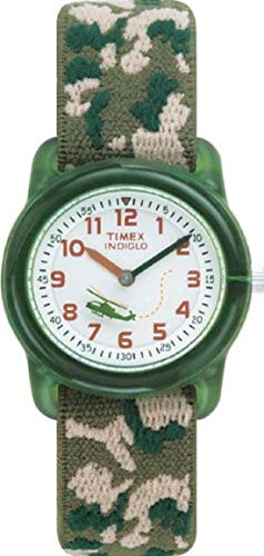 Timex Boys T78141 Time Machines Green Camo Elastic Fabric Strap Watch -