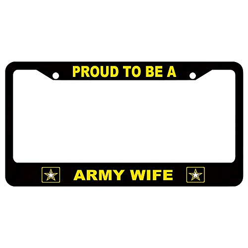 (URCustomPro Proud to Be A Army Wife Yellow US Army Symbol License Plate Frame Tag Military Pride, Stainless Steel License Tag Holder with Screw Caps,2 Holes Car License Plate Cover for US Vehicles)
