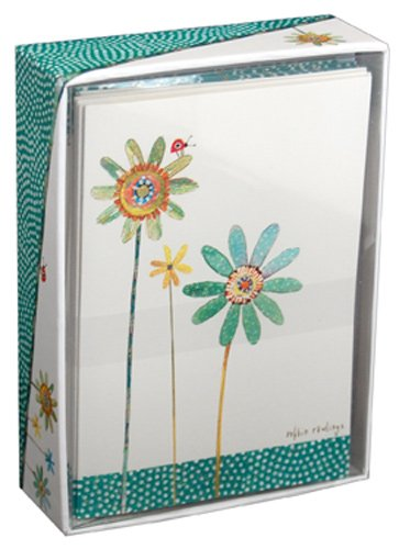 (Green and Blue Flowers - Pictura Box of 14 Blank Note Cards)