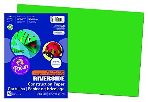 Riverside 3D Construction Paper, Green, 12