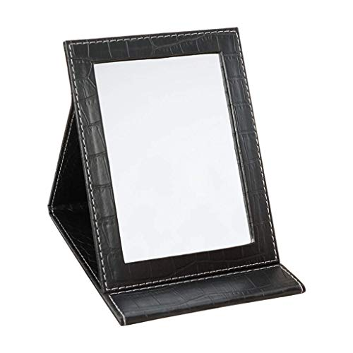 Jokeagliey Makeup Mirror, Folding Large Compact Vanity Mirror, Faux Leather Frame - Rectangular,Black