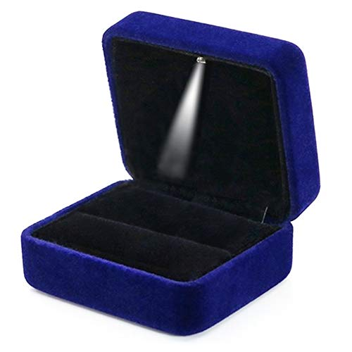 GBYAN Velvet Ring Box with LED Light Jewelry Display Gift Box for Proposal,Engagement, Wedding (Blue) (Ring Box Blue)