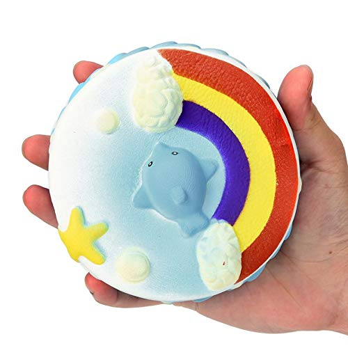 LUCILAS Squishy Toy Funny Sea Cake Slow Rising Squeeze Toy Kid Toys for Children Gift Stress ReliverAnti Stress Novl Toy