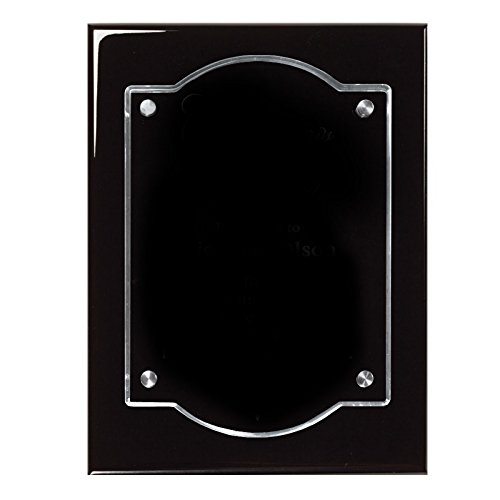 - Customizable 9 x 12 Black Piano Finish Plaque with Floating Acrylic, includes Personalization