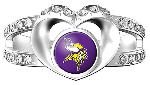 MT-Sports NFL Heart Shaped Lady Ring Lady Exquisite Heart Shaped Ring (Minnesota Viking, ()