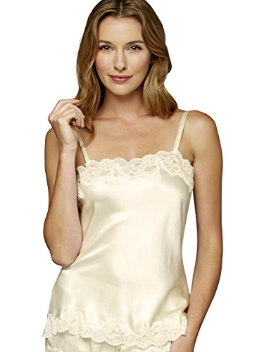 Julianna Rae Women's 100% Silk Camisole Top, Lace Trim, Tresor Collection, Whisper, XS